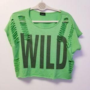 RUE21 WILD CROP DISTROYED GREEN TOP SM